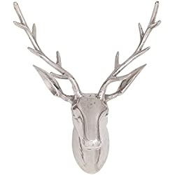 "Deco 79 14630 Aluminum Reindeer Head Home Decor Product, 18""W/23""H"