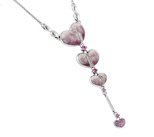 Sterling Silver, Diamond and Pink Sapphire Necklace - Sapphire White Cufflinks