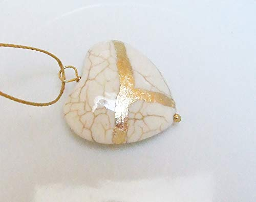 Large White Howlite Broken Heart Mended with 23k Gold, Kintsugi Cord Necklace