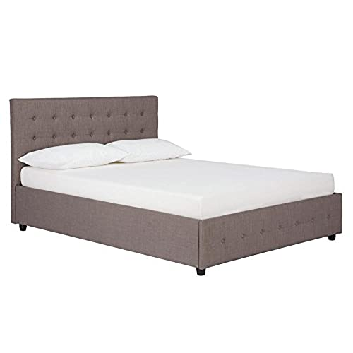DHP Cambridge Upholstered Linen Platform Bed with Wooden Slat Support and Under Bed Storage Button Tufted Headboard Full Size - Grey  sc 1 st  Amazon.com & Beds with Storage Underneath: Amazon.com