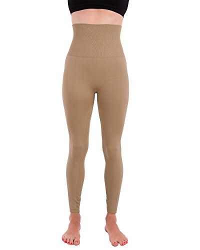 Homma Activewear Thick High Waist Tummy Compression Slimming Body Leggings Pant (Medium, Mocha)