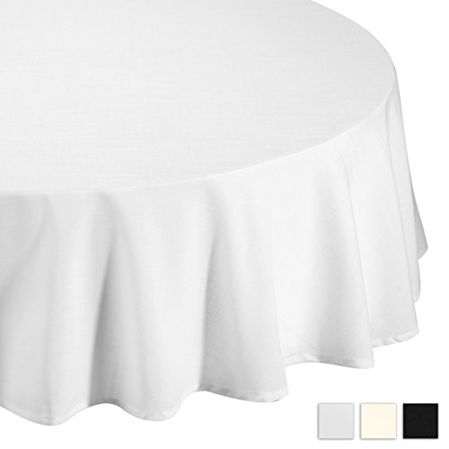 (Lightweight Round Tablecloth Polyester Table Linen - Stain Resistant Washes Easily Great for Christmas New Year Eve Gift Idea Family Dinner Wedding Parties Restaurant Banquet (WHITE, Round)