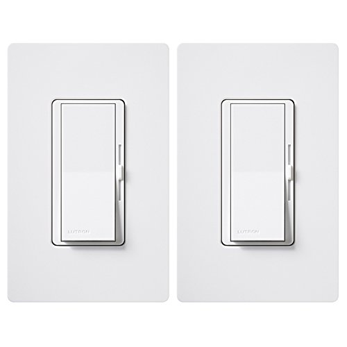 Lutron DVWCL-153PH-2-WH Diva 150-Watt Single Pole/3-Way LED/CFL Dimmer with Wallplate (2 Pack), White