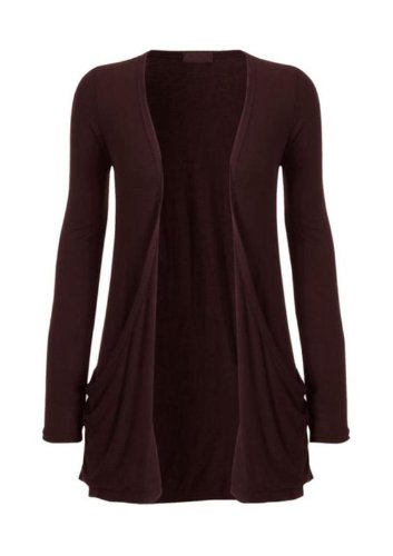 Hot Hanger Ladies Plus Size Pocket Long Sleeve Cardigan 16-26 : Color – Brown : Size – 16-18 LXL