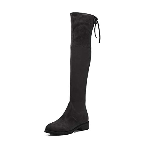 AdeeSu Womens Bucket-Style Cold Lining Solid Gray Urethane Boots SXE04874-6 B(M) US