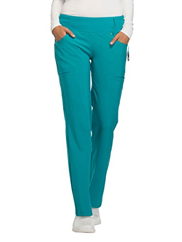 Straight Leg Pull - Cherokee Women's iflex Mid Rise Straight Leg Pull-on Pant,Wine,X-Large Regular