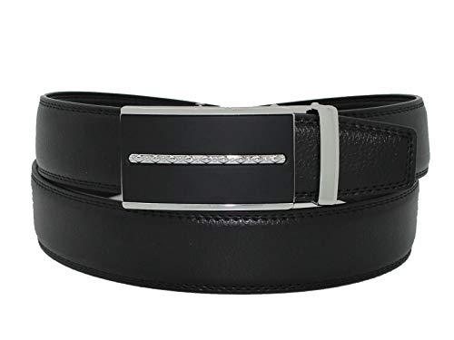 Men's Leather Black Dress Belt Sliding Ratchet Automatic Buckle Holeless Xlarge, Comfort Belt, Black And Silver