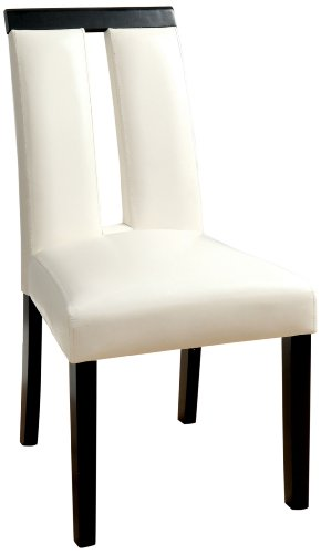 Furniture of America Brighton Leatherette Dining Side Chair, White, Set of 2 ()