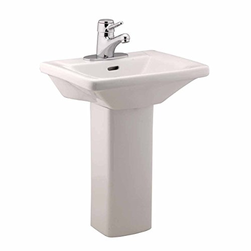 Children's White Pedestal Sink Vitreous China ''WeeWash'' 4'' Centerset Open Back Scratch Stain Resist by Renovator's Supply