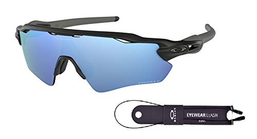 Oakley Radar EV Path OO9208 920855 38M Matte Black/Prizm Deep H2O Polarized Sunglasses For Men+BUNDLE with Oakley Accessory Leash ()