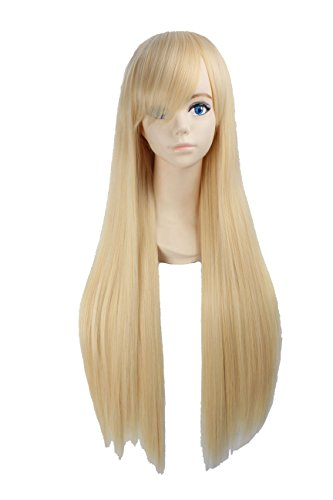 [Angelaicos Unisex 80cm Various Color General Anime Cosplay Costume Party Halloween Natural Full Wig Long Straight 31 Inches] (Super Easy Character Costumes)