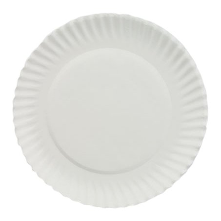 "AJM PP6GREWH 6"" Diameter, White Color, Green Label Uncoated Paper Plate - Pack Of 1000"