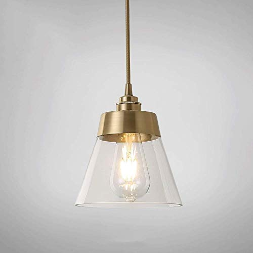 LMDH 1-Light Vintage Hanging Lamp Glass Pendant Light Antique Brass Brushed E27 Perfect for Kitchen Dining Room