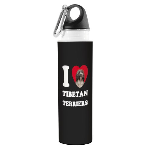 Tree-Free Greetings VB49132 I Heart Tibetan Terriers Artful Traveler Stainless Water Bottle, 18-Ounce, Grey and White