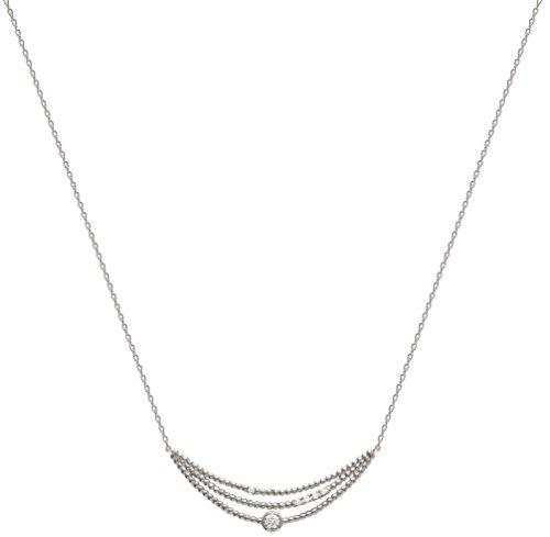 Collier en Argent 925/000 et Oxyde de Zirconium - Chaîne avec Pendentif Fixe : Forme Originale avec Strass, Brillants Blanc - Bijoux Femme