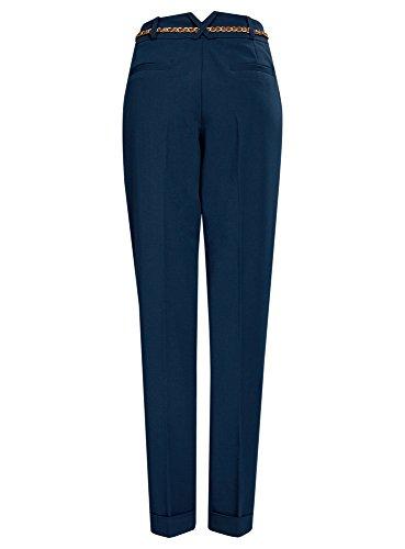 oodji Collection Mujer Pantalones Ajustados con Cinturón Azul (7500N)