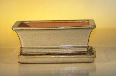Bonsai Boy's Beige Ceramic Bonsai Pot - Rectangle With Attached Humidity Drip tray 8 5 x 6 5 x 3 5