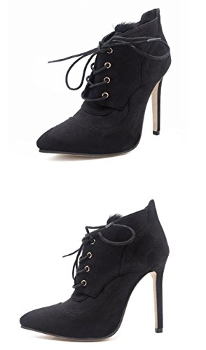Ladies' Boots Heels Fashion Hair Shoes QZUnique Short Rabbit Women' High Black Suede Stitching s with tZnUSq