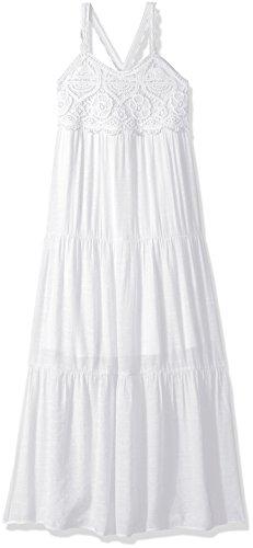 Amy Byer Big Girls' Crochet Empire Maxi Dress, White, 14