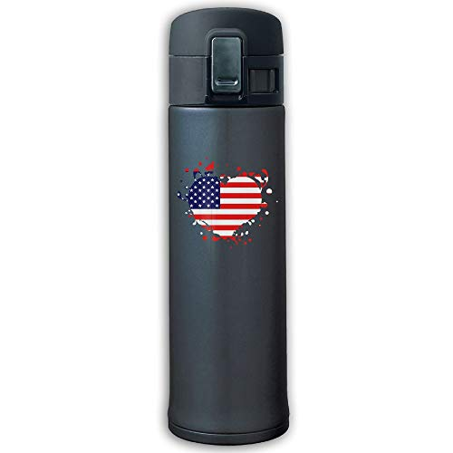 CC COLL Flag Heart US United States America Superball 500ML/10-Ounce Stainless Steel Thermos,Stainless Steel Mug Travel Thermos Mug Navy