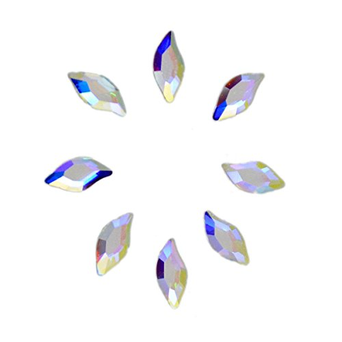AD Beads Swarovski Flatbacks No-Hotfix Rhinestones Crystal AB (Diamond Leaf - 3x8mm - 8pcs)