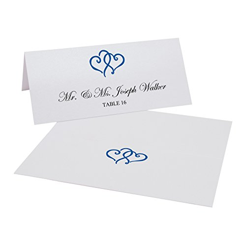 Documents and Designs Linked Hearts Easy Print Place Cards (Select Color/Quantity), Pearl White, Royal Blue, Set of 50 (9 Sheets)