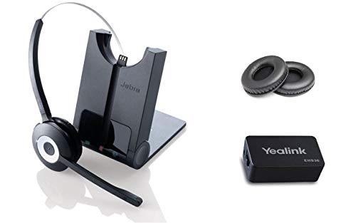 Yealink Phone Compatible Wireless Headset | Yealink SIP Phones: T48G, T46G, T42G, T41P, T38G, T28P, T26P | Yealink Wireless EHS Headset Adapter | Jabra PRO 920 Bundle with Bonus Premium Ear Cushions ()