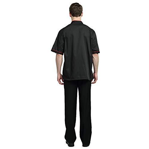 TopTie Unisex Short Sleeve Chef Coat Jacket, Black with Red by TopTie (Image #5)