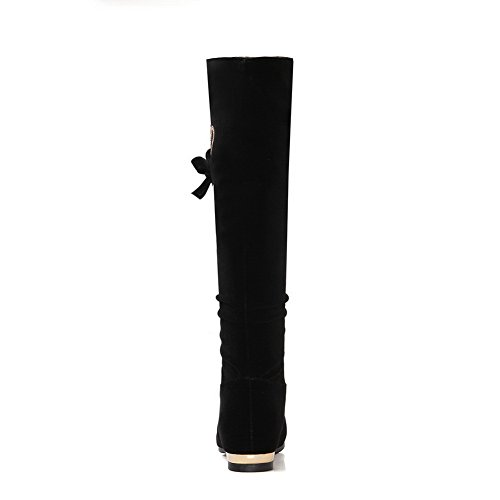 BalaMasa Womens Flatform Heighten Inside Pull-on Knee-High Beaded Suede Boots ABL09769 Black a2NVKeB