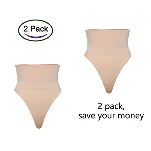 High Waist Thong Tummy Control Underwear Shaping Panties for Women Slimming Body Shaper Gridle 2pack (Beige(2 Pack), -