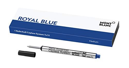 Montblanc Rollerball Capless System Refill (M) Pacific Blue 113778 – Pen Refills with a Medium Tip – 1 x Dark Blue Pen Cartridge