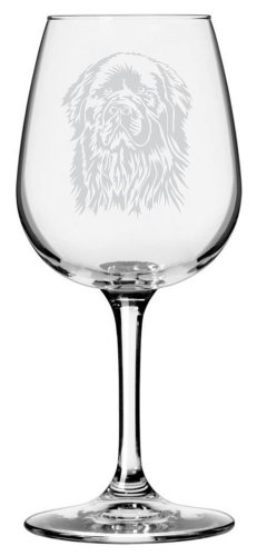 Newfoundland Dog Themed Etched All Purpose 12.75oz Libbey Wine Glass