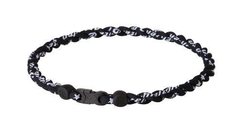 - Phiten Tornado Titanium Necklace, Black/Black, 22