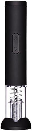 Bar Craft Deluxe - Sacacorchos eléctrico con Cortador de cápsula y Base Decorada, Negro