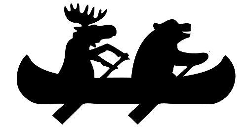 TDT Printing & Custom Decals Bear & Moose Canoe Vinyl Decal Sticker For Car or Truck Windows, Laptops etc. - Bear Printing