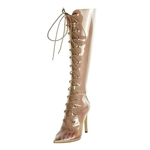 Talon Botte Haut Transparent Souple Femme Chaussure Mode 11 Lacets Angkorly Ouverte Fuschia Stiletto Aiguille CM qvz4Ex8cw