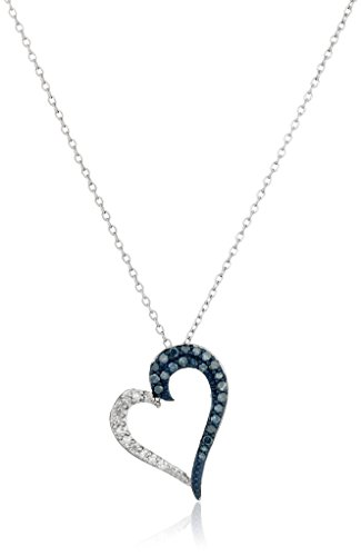 - Sterling Silver Blue and White Diamond Angled Heart Pendant Necklace (1/4 cttw, J-K Color, I2-I3 Clarity), 18