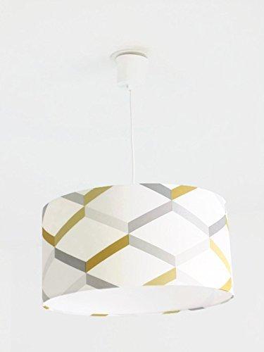 Lustre suspension plafonnier abat-jour géométrique scandinave jaune gris Luminaire diamètre personnalisé cylindre rond idée cadeau anniversaire décoration tendance hygge minimaliste
