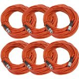 SEISMIC AUDIO - SAXLX-100 - 6 Pack of 100' Red XLR Male to XLR Female Microphone Cables - Balanced - 100 Foot Patch Cords