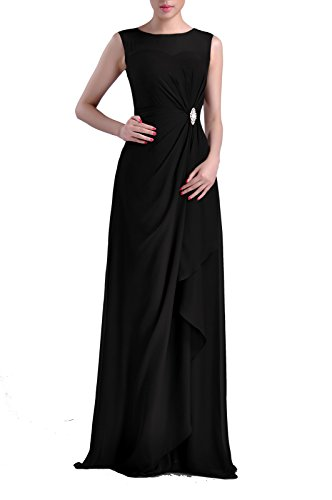 Formal Bridesmaid Dress Chiffon Special Occasion Long Mother Of The Bride Groom Dress, Color Black,26W (After Six Stretch Bridesmaid Dress)