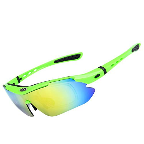- Polarized Sports Sunglasses Men Women, Bicycle Sunglasses Suitable for Driving, Cycling, Running Fishing Golf Outdoor Activities 100% UV Protection 5 Interchangeable Lenses (Neon Green, Multicolor)