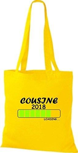 shirtinstyle Tela Bolsa Algodón PRIMO DE 2018 Carga parto Regalo - fucsia, 38 cm x 42 cm amarillo