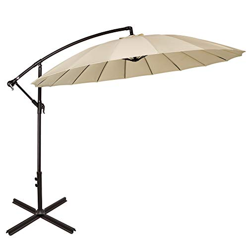 Sundale Outdoor 9ft Aluminum Offset Patio Umbrella with Crank and Cross Bar Set, Cantilever Umbrella for Deck, Garden, Backyard, 18 Fiberglass Ribs, 100 Polyester Canopy Shade Light Yellow