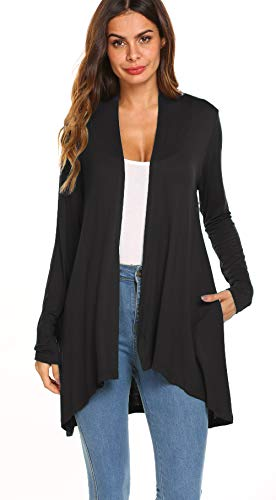 POGTMM Women's Loose Casual Long Sleeved Open Front Breathable Cardigans with Pockets (Black, US S(4-6))