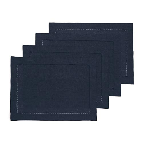 Solino Home Hemstitch Linen Placemats - Navy Set of 4, 14 x 19 Inch 100% European Flax Natural Fabric - Machine Washable Placemats - Handcrafted with Classic Hemstitch & Mitered Corners (Blue Navy Table Mats)