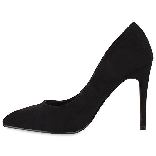 Stiefelparadies Spitze Damen Pumps Samt High Heels Stilettos Party Schuhe Flandell Schwarz Schwarz Velours