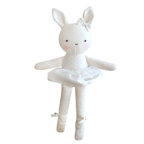 Blessnature] 100% Organic Stuffed Animal, Baby Doll, Tri-Colored Plush Toy (Ballerina Bunny for Newborn)_12in