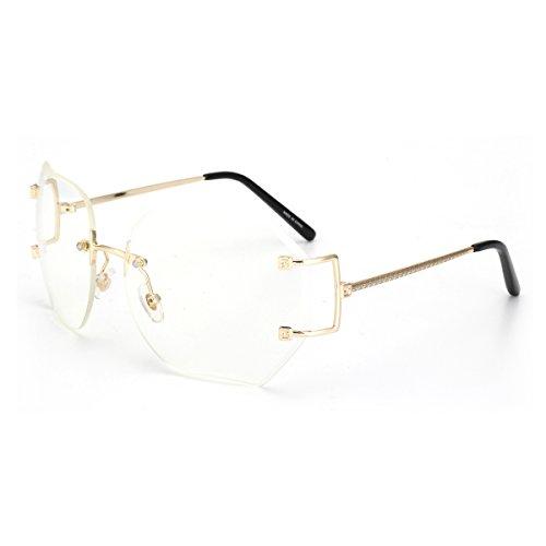 ROYAL GIRL Rimless Women Sunglasses Cutting Oversize Lens Vintage Metal Frame Glasses Clear (Metal Rimless Sunglasses)