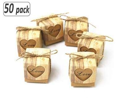 Ribbon Wedding Favor Decor - 50pcs Love Heart Candy Box Rustic Wedding Gifts Kraft Packing Box With Burlap Jute Ribbon Wedding Party Decoration
