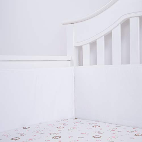 TILLYOU Padded Baby Crib Bumper 4 Piece Premium Woven Cotton Breathable WHITE